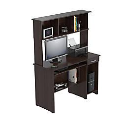 Inval Computer Workcenter With Hutch Espresso