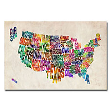 Trademark Global US States Text Map