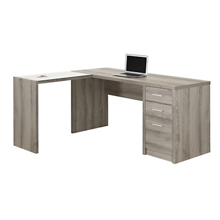 monarch specialties l shaped glass computer desk 60 w x 55 d dark taupe by office depot officemax. Black Bedroom Furniture Sets. Home Design Ideas