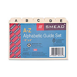 Smead Card Guides Alphabetic Indexed Sets