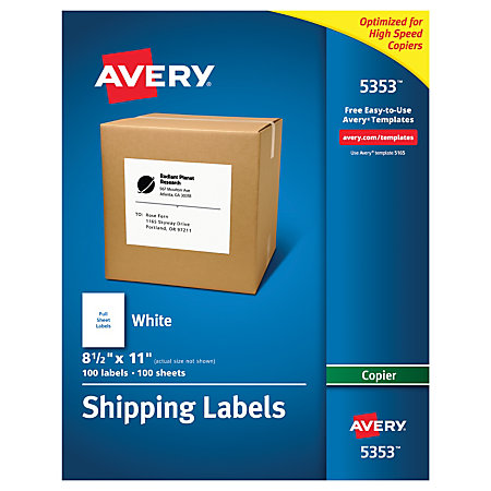 Avery white copier address labels 8 12 x 11 box of 100 by for Office depot address label template