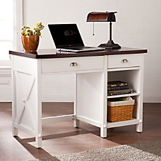 Southern Enterprises Amburg Farmhouse Desk WhiteCherrywood