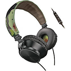 "Marley Jammin ""Revolution"" On-Ear Headphones With Microphone, 3 Button Control, Green Camo"