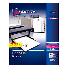 Avery Print On Dividers 8 12