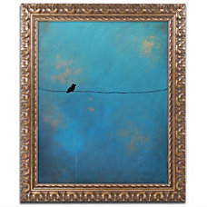 Trademark Global Lone Bird Blue Framed