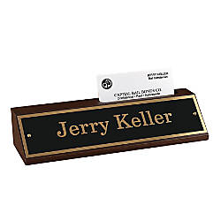 Name Counter Sign Walnut Base With