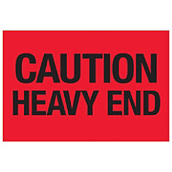 Tape Logic Preprinted Labels Caution Heavy