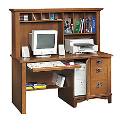 Sauder mission computer desk with hutch and lower shelf 57 14 h x 59 12 w x 23 12 d fruitwood by - Mission style computer desk with hutch ...