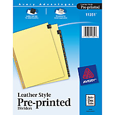 Avery Black Leather Tab Dividers Jan