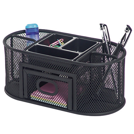 Brenton studio metro mesh organizer black by office depot - Black mesh desk organizer ...