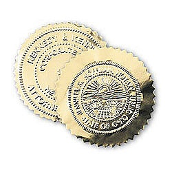 Gold Foil Label Seal Stickers For Custom Embossers   Diameter - Custom gold foil stickers