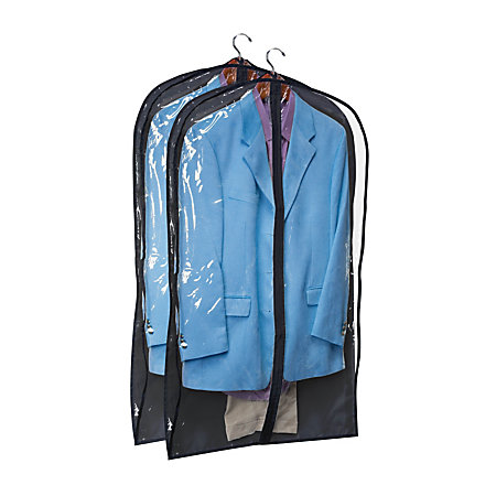 honey can do hanging garment suit storage bags 42 h x 24 w x 3 d black pack of 2 by office depot. Black Bedroom Furniture Sets. Home Design Ideas
