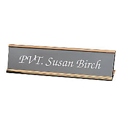 Engraved Desk Sign Wrap Around Metal