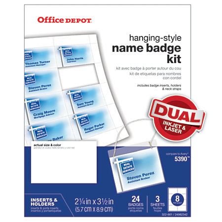 Office depot brand name badge kit pack of 24 by office depot officemax - Office depot printing prices ...