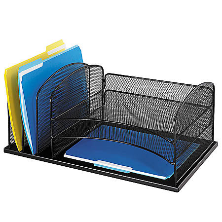 Safco horizontal mesh desk organizer 8 14 h x 19 12 w x 11 - Safco mesh desk organizer ...