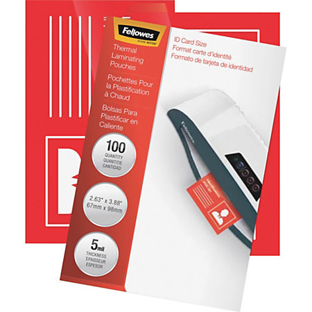 Fellowes Clear Laminating Pouches 2 58 X 3 78 Pack Of 100
