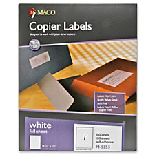 MACO Full Sheet White Copier Labels