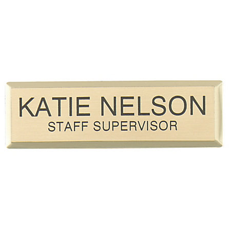 engraved metal name badge 34 x 2 34 gold by office depot With custom name badges office depot