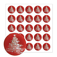 Holiday Seals Silver Tree Pack Of