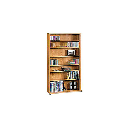 sauder multimedia storage tower 55 12 h x 32 12 w x 9 12 d carolina oak by office depot officemax. Black Bedroom Furniture Sets. Home Design Ideas