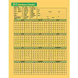 """ComplyRight® 2014 Attendance Calendars, 8 1/2"""" x 11"""", Yellow, Pack Of ..."""