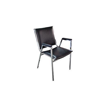 Lorell Plastic Arm Stacking Chairs 35 58 H X 20 34 W X 20 38 D Black Carton O