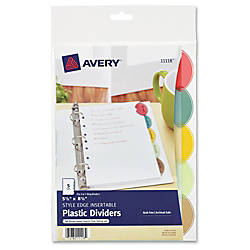 Avery Style Edge Plastic Insertable Dividers