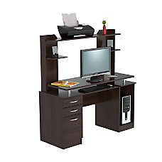 Inval CredenzaComputer Workcenter With Hutch Espresso