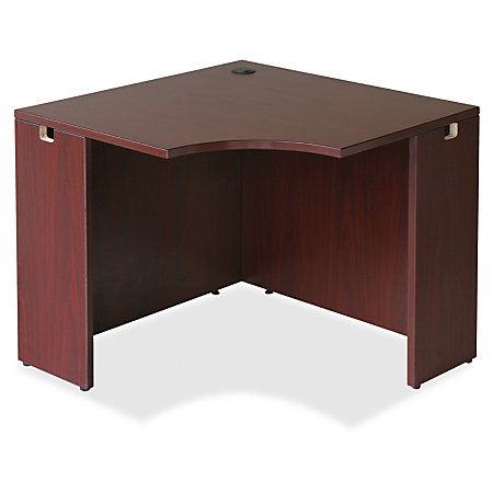 Lorell essentials series mahogany corner desk rectangle for Serie a table 99 00