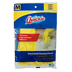 Quickie Lined Latex Gloves Medium Yellow