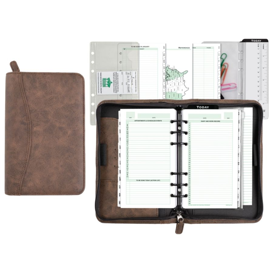 Day Timer Distressed Simulated Leather Planner Organizer Set