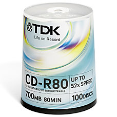 TDK 100 Pack 52x CD R