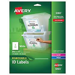 Avery Permanent Full Sheet Labels InkjetLaser