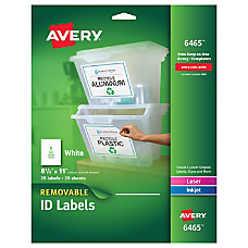 Avery White InkjetLaser Removable Full Sheet