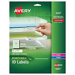 Avery Removable LasrInkjet ID Labels Multipurpose
