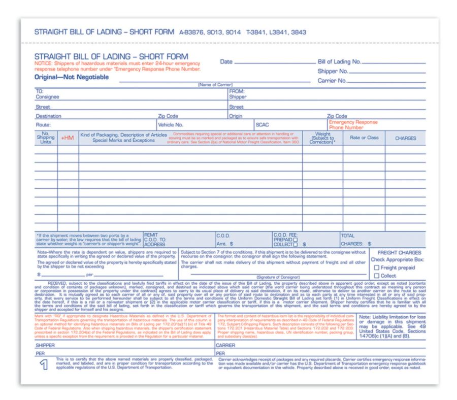 Adams Bill Of Lading Forms   X   Part Pack Of  By Office