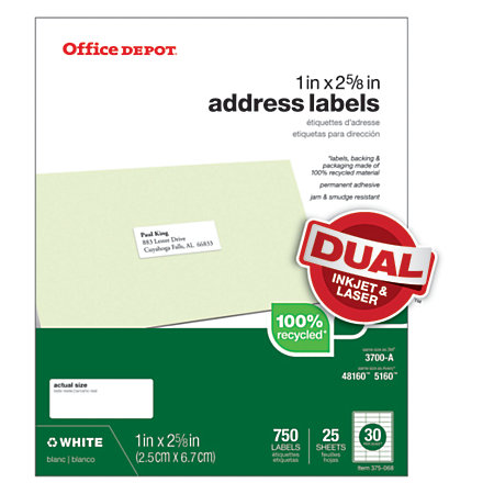 Office depot brand 100percent recycled mailing labels address 1 x 2 58 white box of 750 by - Office depot printing prices ...