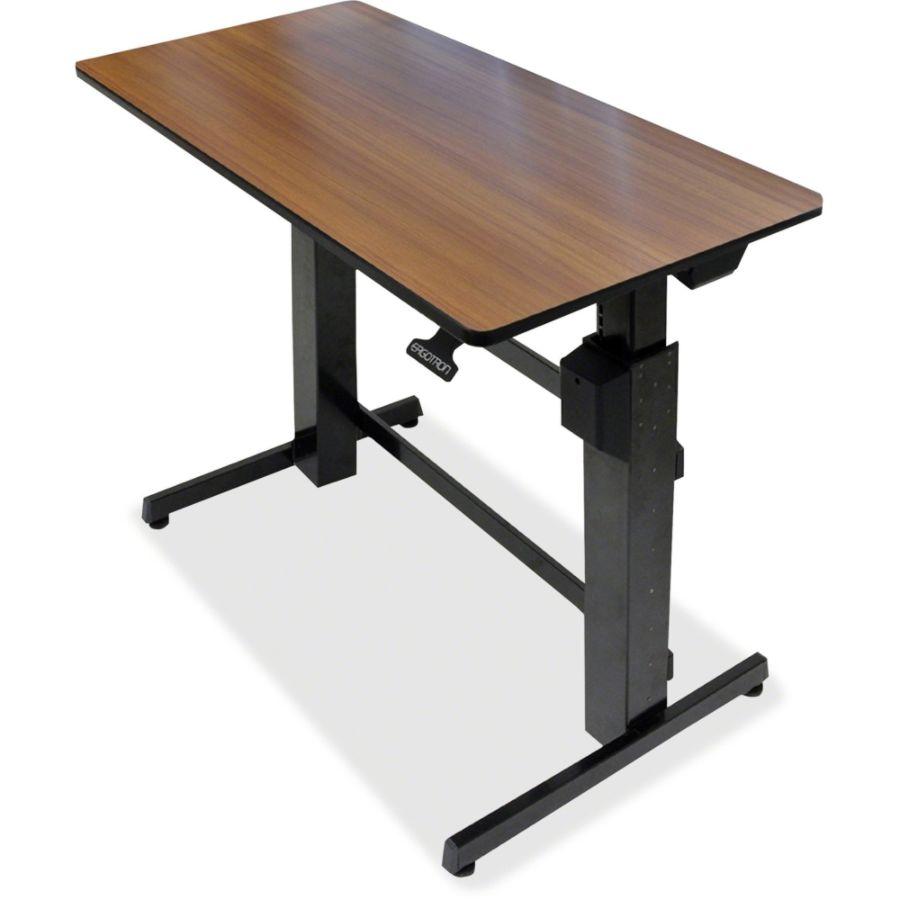 Ergotron workfit d sit stand desktop workstation radius office - Ergotron Workfit D Sit Stand Desk Walnut By Office Depot Officemax