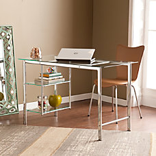 Southern Enterprises Oslo Chrome Glass Desk