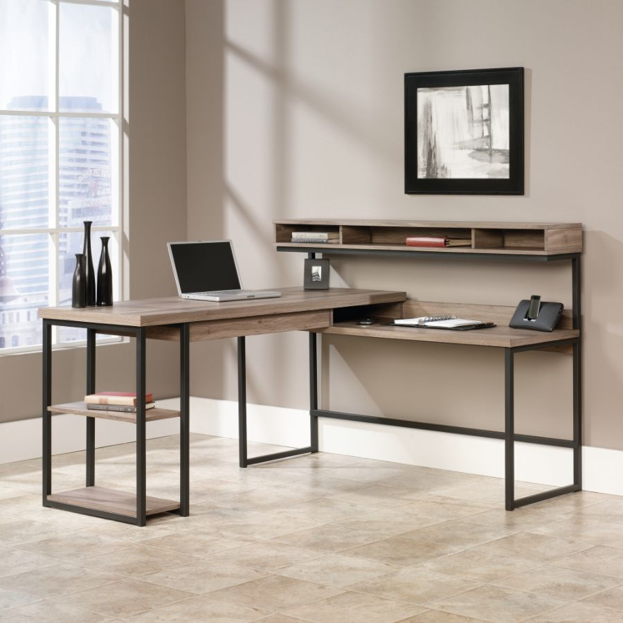 Sauder Transit Collection Multi Tiered L Shaped Desk Salted Oak by