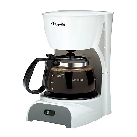 Mr coffee 4 cup coffeemaker white by office depot officemax for Apartment therapy coffee maker
