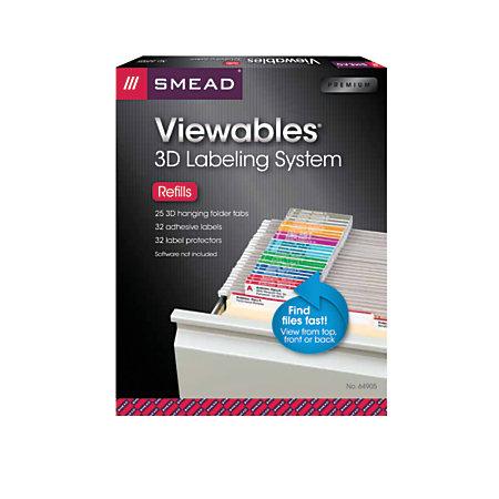 smead viewables labeling system for hanging folders refill kit pack of 25 labels by office depot. Black Bedroom Furniture Sets. Home Design Ideas