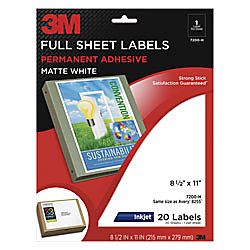 3m white inkjet shipping labels for color printing 8 12 x 11 pack of 20 by office depot officemax. Black Bedroom Furniture Sets. Home Design Ideas