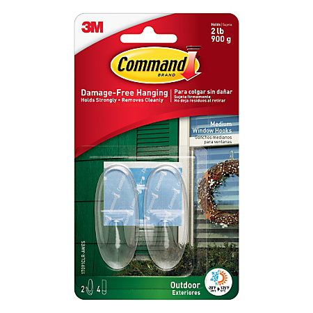 3m command outdoor window hooks with all weather strips medium 2 h x 1