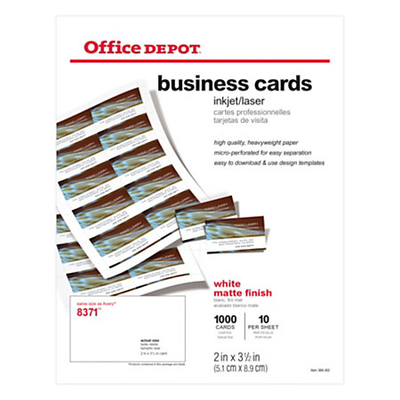 Office depot brand matte business cards 2 x 3 12 white for Office depot business card printing