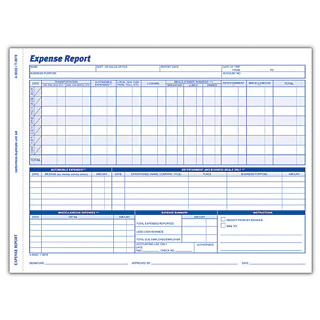 Adams Weekly Expense Report 8 12 x 11 716 Pack Of 50 Sets by – Weekly Expense Report Template