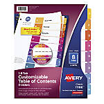Avery Ready Index 30percent Recycled Table