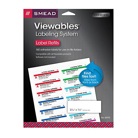 smead viewables multipurpose labels refill kit white pack of 160 labels by office depot officemax. Black Bedroom Furniture Sets. Home Design Ideas