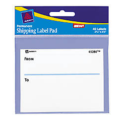 Avery White ToFrom Shipping Label Pad