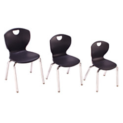 Scholar Craft Ovation Student Stacking Chairs 12 H BlackChrome Set Of 4 By Of